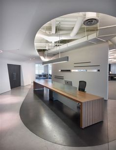 Reception Desk 20' long in Zebrano #veneer and frosted #glass privacy panel