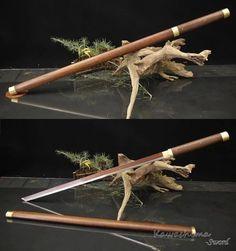 Main Samouraï Japonais Katana Shirasaya Sword Plié Acier Kiriha Zukuri Lame Palissandre Fourreau Raccord En Laiton T