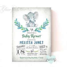 Elephant Baby Shower Invitation Boy Invite // Watercolor Hand-Drawn Elephant // Printable OR Printed No.634BOY