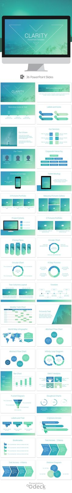 Clarity is an awesome PowerPoint presentation template that includes 36… Presentation Slides Design, Pitch Presentation, Marketing Presentation, Business Presentation, Powerpoint Presentation Templates, Presentation Styles, Powerpoint Themes, Ppt Template, Powerpoint Presentations