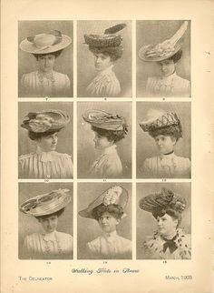 Antique 1903 Edwardian Fashion Chromolithograph Featuring Ladies Hat Couture Millinery