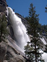 Nevada Fall (594 feet)  Flows: all year, with peak flow in late May.  You can see Nevada Fall (from a distance) at Glacier Point. The road to Glacier Point is open approximately late May through sometime in November. A wheelchair-accessible trail is available to the viewpoint when the road is open.  You can also hike beyond Vernal Fall to Nevada Fall on a steep trail (see a list of Valley day hikes).