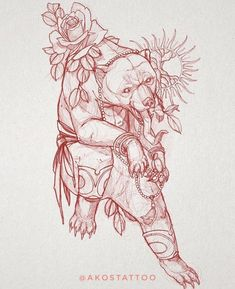 Neo traditional sun bear tattoo sketch with a rose design for a torso tattoo by Akos Tattoo
