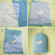 embroidered pillow - birdcage and bird pattern :)
