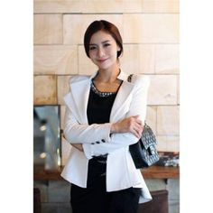 $13.00 Stylish Slimming Fit Flouncing Hem Long Sleeve Women's Suit Coat