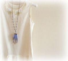 Blue CoqueLong  Feather necklace turquoisetealbrown by GBILOBA, €27.00