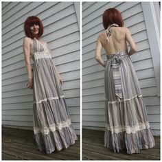 Gunne Sax Halter Dress 70s Vintage Striped Open Back by soulrust----- Just bought this dress from this seller, so excited!!!