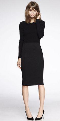 Cropped Sweater & High Waist Skirt #mystyle #fashion #blackismyuniform