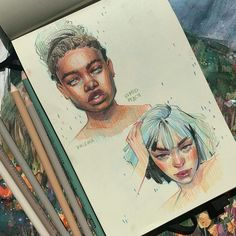 Watercolor painting by Humid Peach Humid Peach is the name of the artist whose real name is Ksenia Kondyleva. Cute Drawings, Drawing Sketches, Drawing Tips, Drawing Faces, Arte Sketchbook, Sketchbook Inspiration, Aesthetic Art, Portrait Art, Cute Art