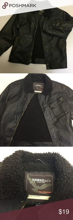Hawk and Company - Faux Leather Bomber Jacket -7 Super Cute and in Great Condition- Worn Once - No marks or scars on the jacket.    Size : Boys 7  Side Zip Pockets  Zipper closure at front  Shell body surface: polyester Faux Leather ; lining/backing: polyester Machine washable Hawke & Co Jackets & Coats
