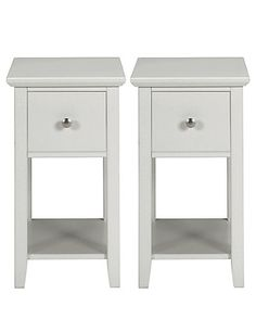 2 Hastings Grey Compact Bedside Chests Bedroom Furniture Chest Narrow Cabinets