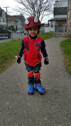 My Jayziah with his first Rollerblade.