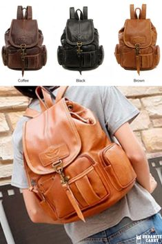 325b6456aae This Vintage Leather Drawstring Backpack is beyond chic. Crafted for  elegant style and comfort.