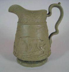 antique English drabware ceramic pitcher made by Jones & Walley tjb6510