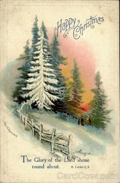 Beautiful Vintage Snowy Woods Christmas Card! Just a Touch of Orange in Skyline