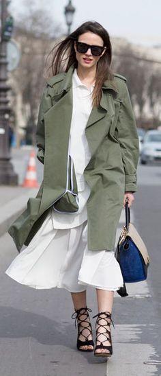 Army Green Trench Stylish Streetstyle by Fashionvibe