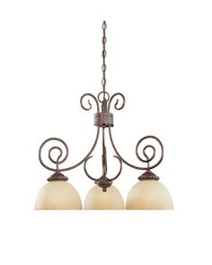 Designers Fountain Lighting 99384 AUB Belaire Collection Three Light Hanging Chandelier in Aged Umber Bronze Finish