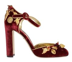 On Sale!!!  Red Velvet Mary J.... http://gethuda.co/products/red-velvet-mary-janes-gold-baroque-pumps?utm_campaign=social_autopilot&utm_source=pin&utm_medium=pin