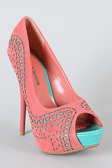 I don't know what I would wear with these coral & aqua heels...but they'd look good sitting in my closet.