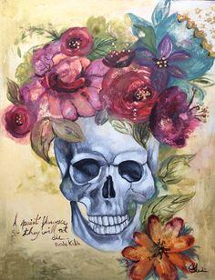 Frida Kahlo inspired skull flowers art print by claudiatremblay, $20.00