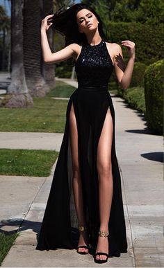 160 USD.Black Prom Dress,Sexy Prom Dresses,High Slit Prom Dresses,A-line Prom Dress,Long Evening Dress,Sexy Formal Dress,Chiffon Prom Dresses,Women Party Gowns,Women Formal Dresses