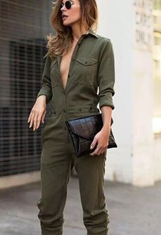 a6ef3e5c25cd New Women Army Green Long Jumsuit Romper Set !  fashion  clothing  shoes