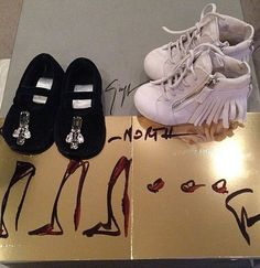 Instead of heels, Giuseppe Zanotti sent along fringe sneakers and sparkling flats