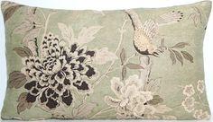 Cushion Pillow Cover GP Baker Fabric Hydrangea Bird Cotton Linen Green Black