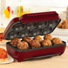 The Mini Meatball Maker features a quick cooking chamber, nonstick coating, and drip tray designed for eight meatballs at a time.