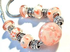 european beads necklace pink lampwork charms
