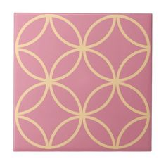 Rose pink tile with yellow circle pattern - gold gifts golden diy custom