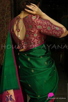 Blouse Designs High Neck, Simple Blouse Designs, Silk Saree Blouse Designs, Lehenga Saree Design, Lehenga Blouse, Blouse Models, Saree Models, Designer Blouse Patterns, Indian Sarees