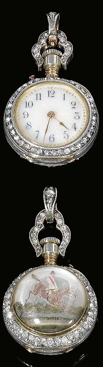 An antique tinted intaglio and diamond pocket watch, late 19th century. The circular dial applied with golden guilloché enamel and blue Arabic numerals, the bezel and handle set with single-cut and rose diamonds, the reverse set with a tinted intaglio depicting a steeplechase scene. PROPERTY FROM THE ESTATE OF THE LATE PRINCE KINSKY #antique #PocketWatch