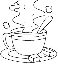 cup of hot chocolate milk coloring page