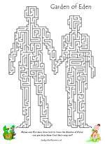 Bible Maze - Garden of Eden Sunday School Activity Worksheet Mais Sunday School Activities, Bible Activities, Sunday School Lessons, Sunday School Crafts, Bible Story Crafts, Bible School Crafts, Bible Stories, Adam And Eve Craft, Adam Et Eve