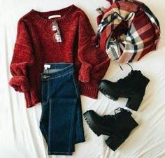 red sweater with black booties, a plaid scarf and jeans. Visit Daily Dress Me at… red sweater with black booties, a plaid scarf and jeans. Visit Daily Dress Me at… – Black Women Fashion, Look Fashion, Winter Fashion, Womens Fashion, Feminine Fashion, Trendy Fashion, Sporty Fashion, Sporty Chic, Luxury Fashion