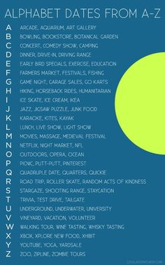 Alphabet Dating (fun date ideas for married couples).