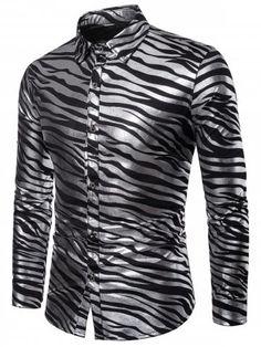 046e5153e625c Shiny Zebra Print Long Sleeve T-shirt Zebra Print