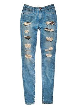 Fall 2013 Denim Trend: Shred It! little tip: before you go out and pay an arm and a leg for them? Make your own at home with Jeans you already have, with Bleach in hot water in your washing machine cut little slits in them where you want, then just wash the hell out of them an you have your Trending Jeans :)