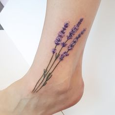 #tattoos Realistic look lavender on the ankle. #lavender #lavendertattoo #brisbanetattoo #dreadarling