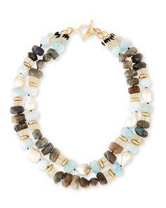 Two-Strand Pearl Nugget, Labradorite & Quartz Necklace