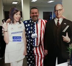 Andy Voss, Flo & Professor Burke together for an insurance summit.