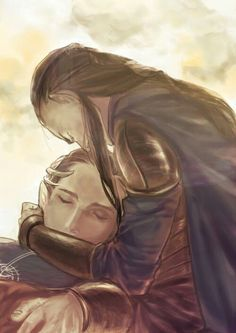 Elrond grieving the death of Gil-galad. Artwork by wyatt on pixiv.com