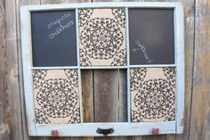 Reclaimed Old Window - Grey Shabby Chic Frame - MAGNETIC CHALKBOARD - Patterned Burlap Cork Board - Chicken Wire - Red Knobs -Farmhouse chic