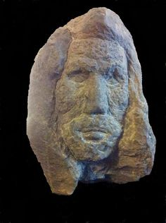 Native American Legends of a White Indians. Pictured is a stone bust found buried on a Kentucky hillside.