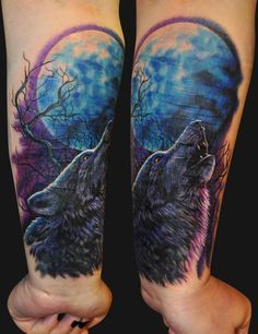 Image result for moon wolf tattoo