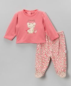 Look what I found on #zulily! Pink & Brown 'Adorable' Cat Tee & Footie Pants by Vitamins Baby #zulilyfinds