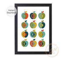 Apples Mid-Century Modern Art Printable Print - Kitchen Wall Art - Printable Wall Art Dining Room Wall Art, Kitchen Wall Art, Modern Art Styles, Apple Decorations, Apple Art, Apple Prints, Personalised Prints, Fruit Print, Mid Century Modern Art