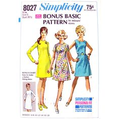 1960s Dress Pattern Simplicity 8027 Personal Fit How To Pattern Womens Size 6 Vintage Pattern - product images  of