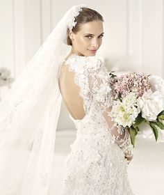 Pronovias Elie Saab Lyon 2013 Bridal Collection ♥ Gorgeous Hand-Embroidered Lace Long Sleeved Open Back Wedding Dress